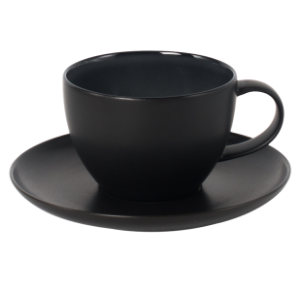 Cup and Saucer Set 350 cc Glassy Black