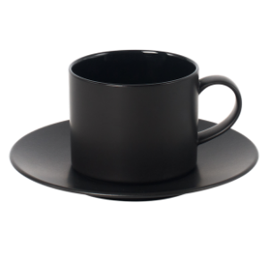 Cup and Saucer Set A 350 cc Glassy Black