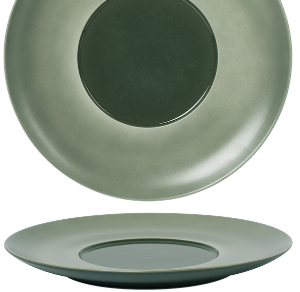 Flat Plate Wide Rim Glassy Green