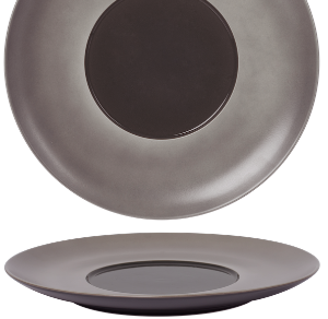 Flat Plate Wide Rim Glassy Taupe