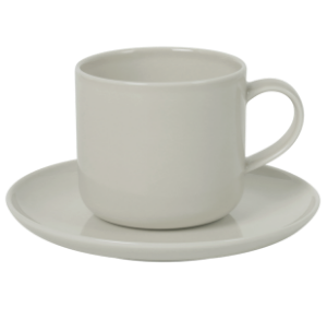 Cup and Saucer Set B 100 cc Pearl Light Grey